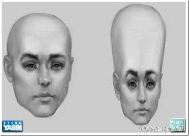 characatures distorted head shapes