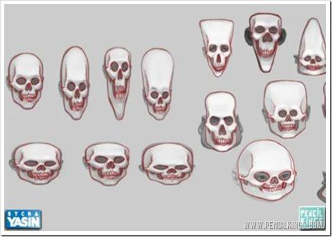 digital caricatures skulls