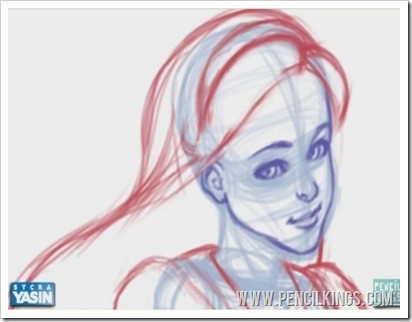how to draw facial features initial sketch