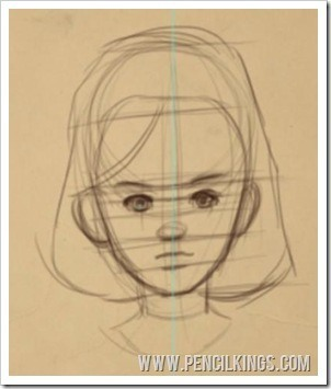 how to draw cartoons female child's face