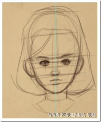 draw a cartoon face adult female