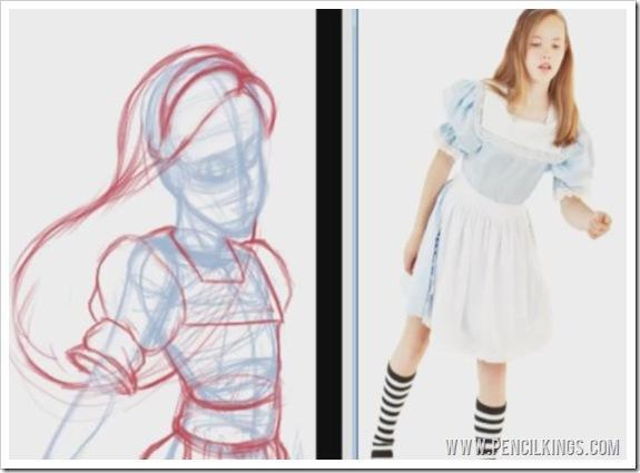 how to paint clothing folds sketch