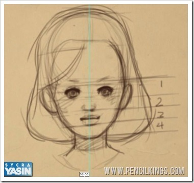 drawing children female face proportion