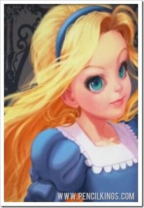 How to draw Alice in Wonderland Anime style finished painting