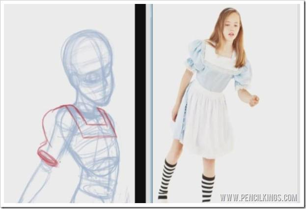 using reference photos in art clothing study