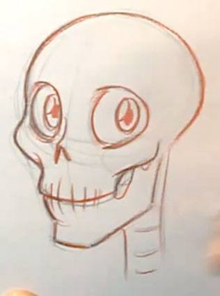 how to draw expressions cartoon skull