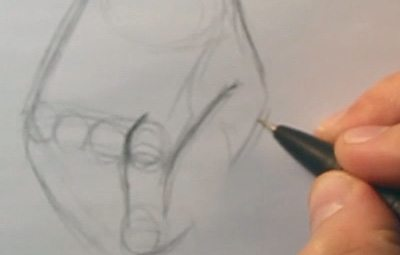 how to draw a clenched hand initial sketch