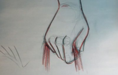 draw a clenched hand holding