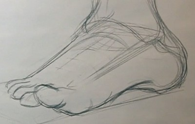 how to draw a foot detailed sketch