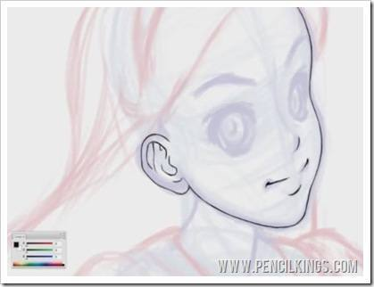 cleaning up line art facial features