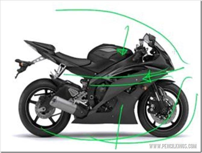 draw a motorbike fairings