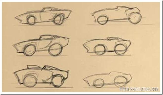 Car Caricature Lineart | 02 |Creating a Thumbnail Sketch 2 Mustang thumb 02 1