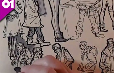 how to sketch crowds line drawing