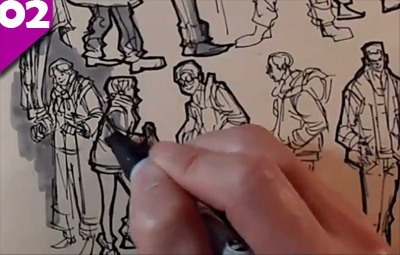sketching on location crowd scene