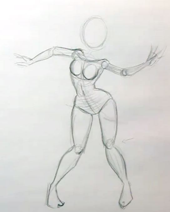 drawing cartoon female dynamic pose