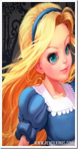 Alice in Wonderland concept art finished painting