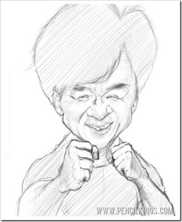 How to make a caricature jackie chan sketch