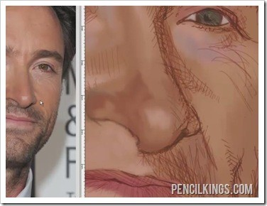 how to caricature detailed skin tones