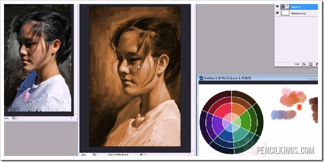 digital art portrait painting using color