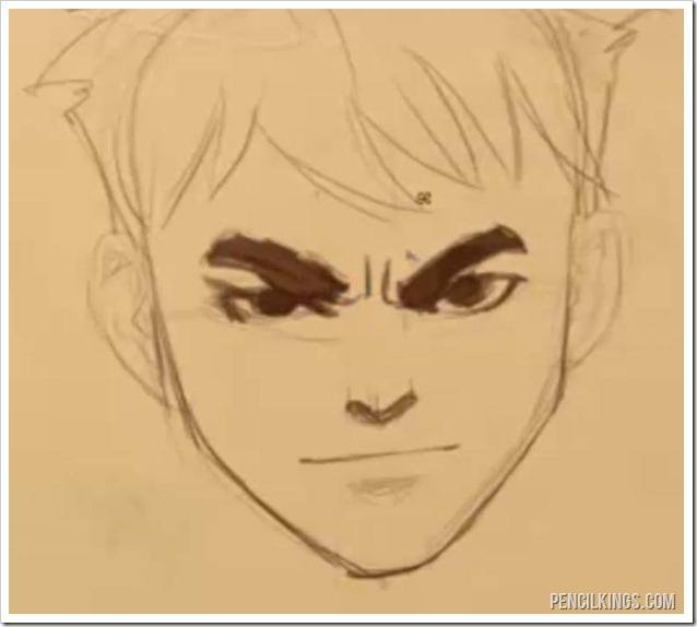 drawing an angry face finished sketch