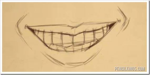 draw a smiling mouth with teeth sketch