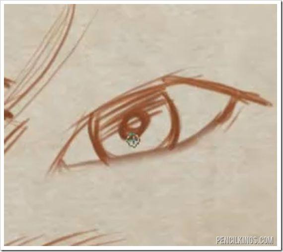 draw a realistic male eye shading on iris
