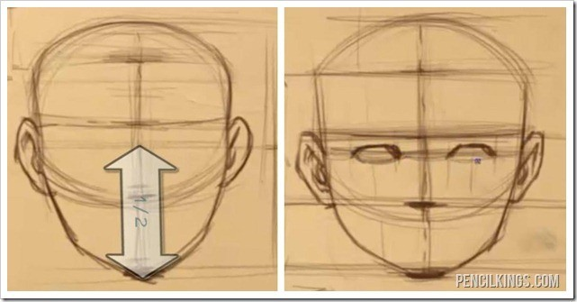how to draw face features placing the eyes