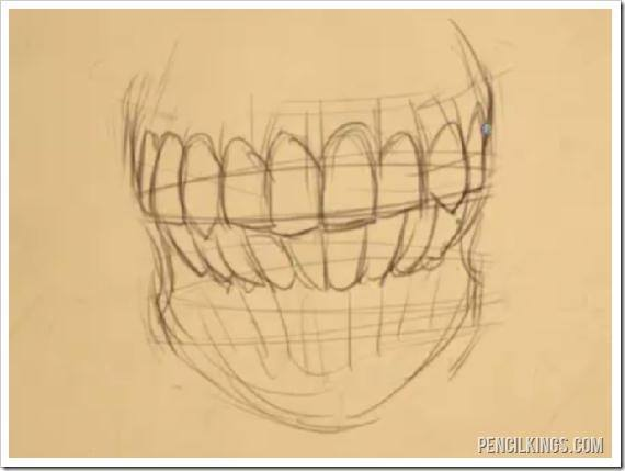 drawing the mouth teeth in skull sketch