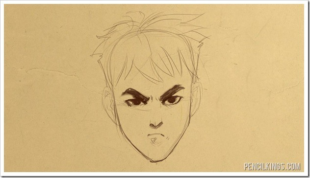 how to draw an angry face finished drawing
