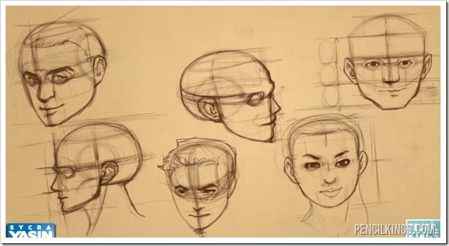 finished face drawing proportions