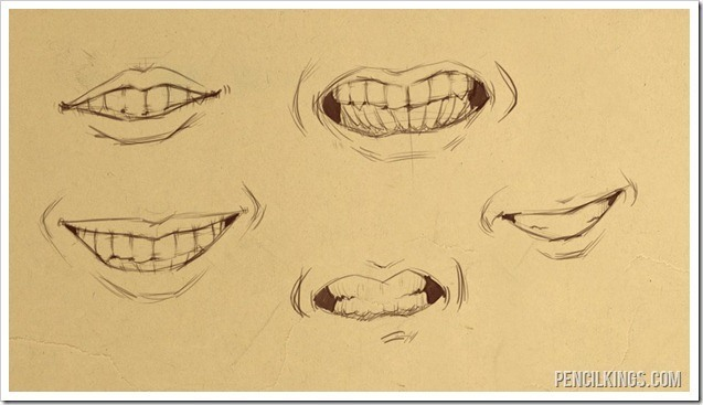 drawing teeth mouth sketches