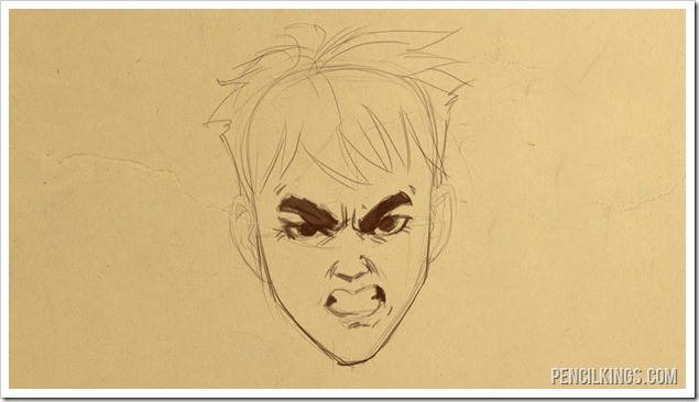 how to draw a furious face finished drawing