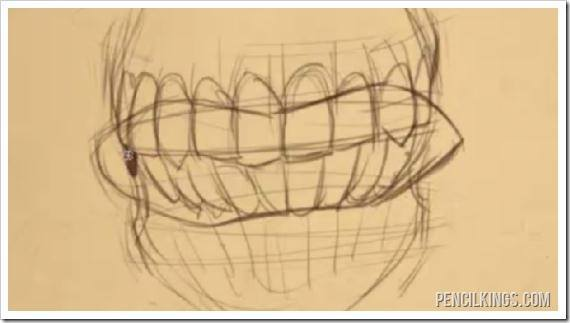 draw an angry mouth teeth sketch