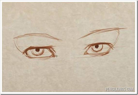 how to draw matching eyes finished sketch