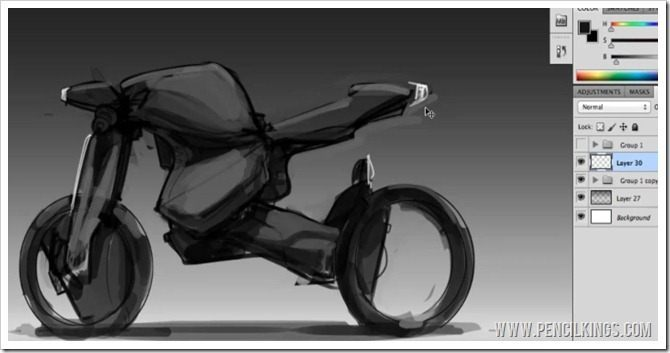 draw a motorbike grouping layers in photoshop