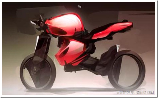 motorbike sketch tutorial finished painting