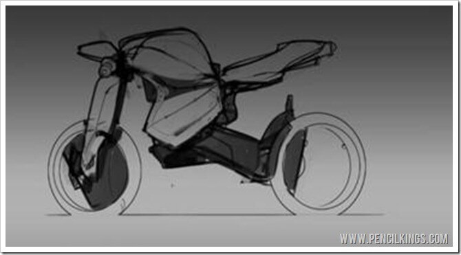 how to draw motorcyles adding a background