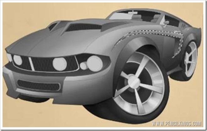 Car Caricature Color | 03 |Revved up for Rendering 2 mustang col key 02