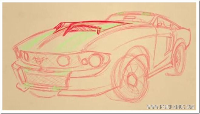 how to draw cars easy mustang line art