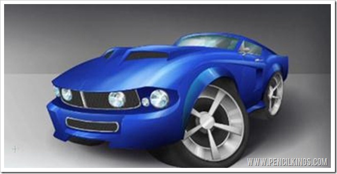 how to draw a 3D car finished mustang painting