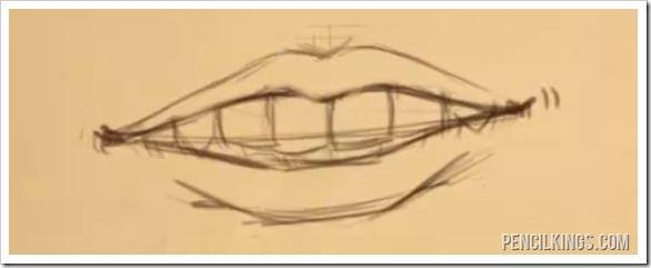 draw an open mouth with teeth sketch