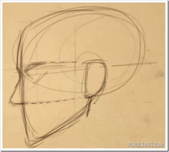 how to draw a realistic ear side view of head