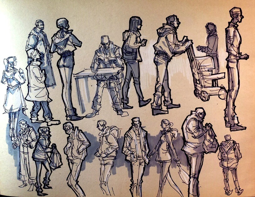 how to sketch quickly finished crowd sketch