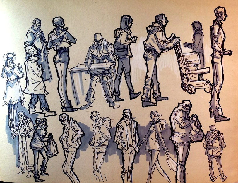 sketching crowds finished drawing