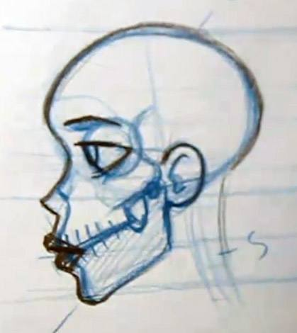 Drawing lips on a skull
