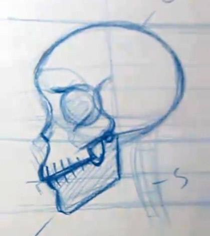 simple skull drawing step 1
