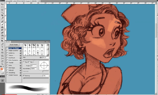 how to paint skin in photoshop pin up girl layers