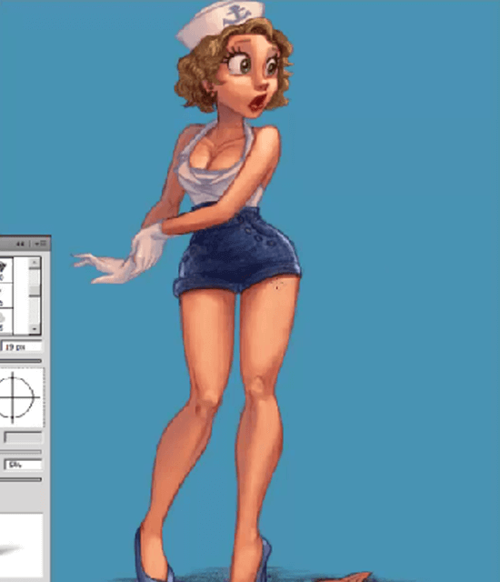 painting pin-ups in photoshop final drawing