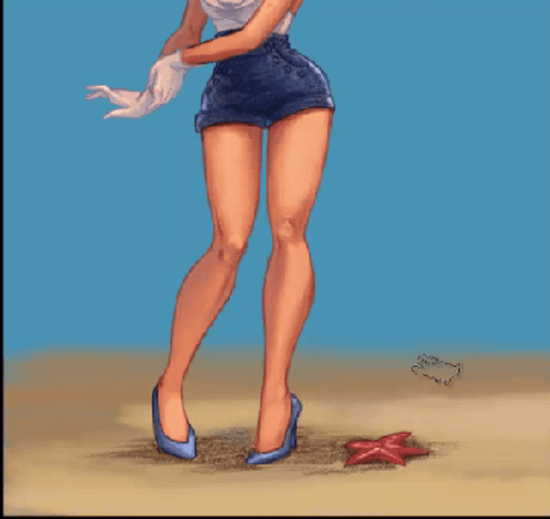painting pin ups painting sand