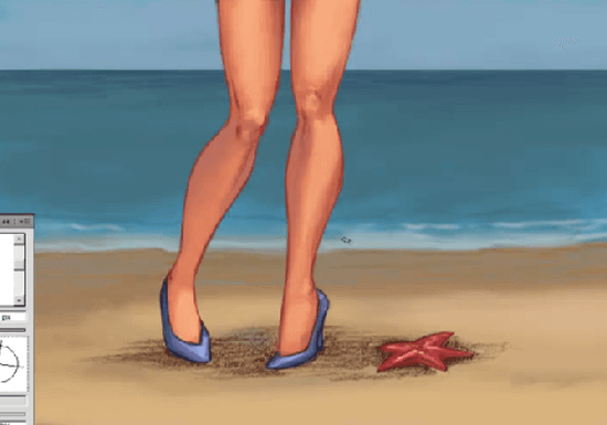 paint a pin up girl photoshop water details